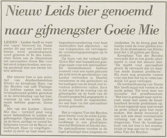 Goeie Mie, 4 november 1988