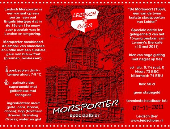 Leidsch Morsporter, etiket 2011, lustrum Lemmy's Biercafé
