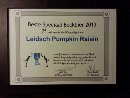 Leidsch Pumpkin Raisin Boc, 1e prijs Speciale Bock 2013