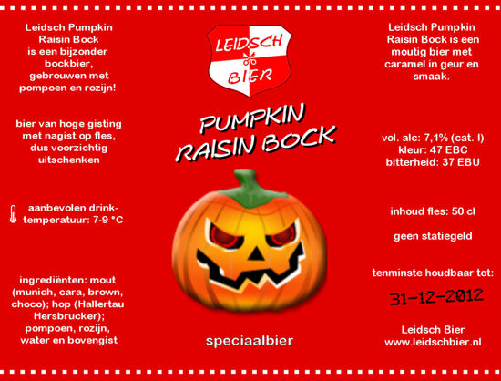 Pumpkin Raisin Bock, etiket 2012