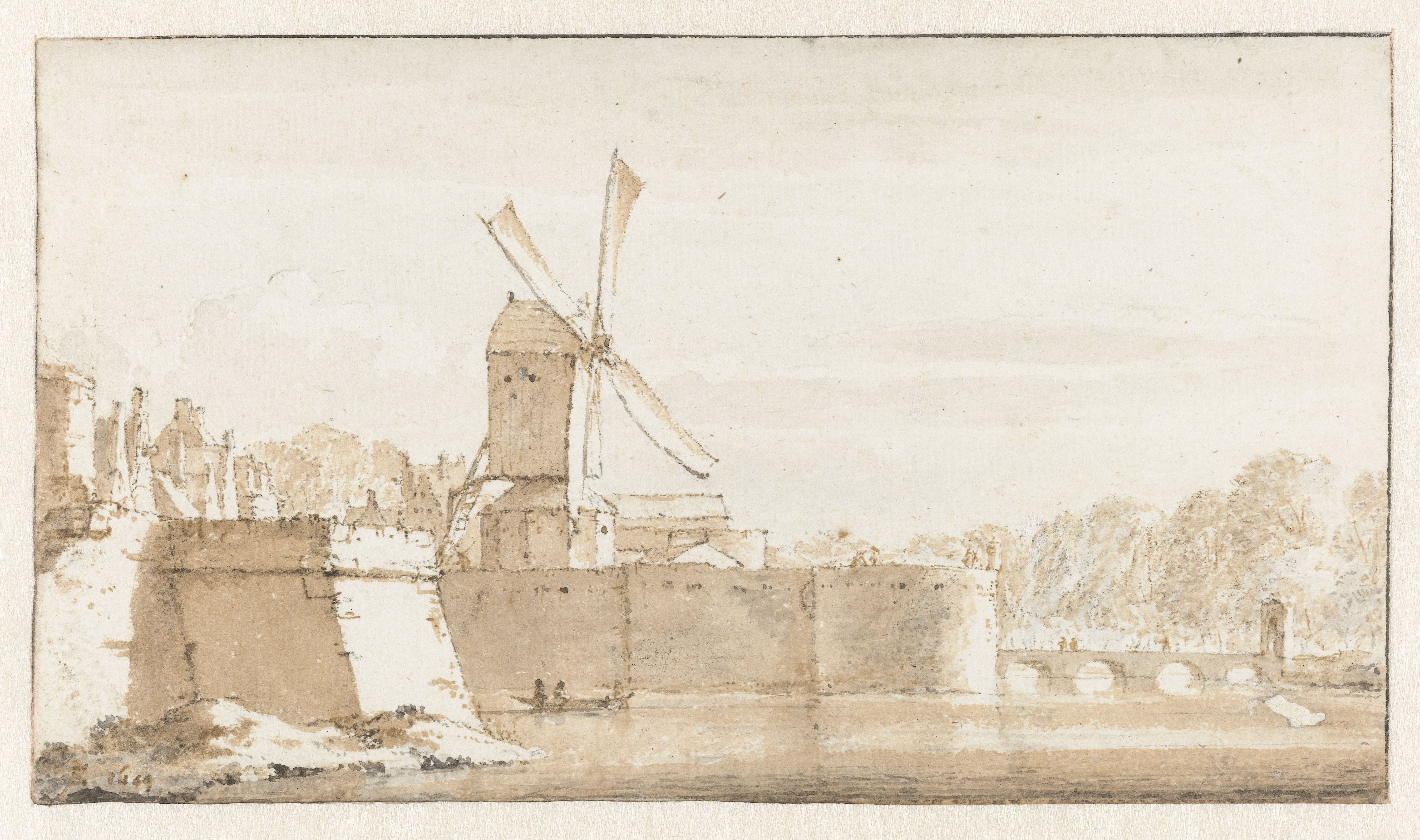Gezicht op de molen van Rembrandt, de wallen bij de Morspoort en het Pelikaansbolwerk, Jan de Bisschop, 1649 - Rijksmuseum (RP-T-1894-A-3037)